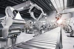 Robotic arm med transportörlinjen royaltyfria foton