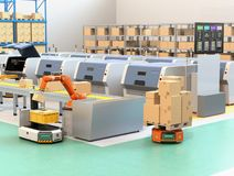 Robotic arm picking parcel from conveyor to AGV. Automatic guided vehicle. 3D rendering image Stock Photos