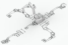 Robotic arm plan with 3d model Stock Images