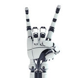 Robotic arm showing rock sign. Isolated robotic arm showing rock sign on white background Royalty Free Stock Images