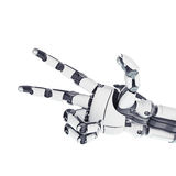 Robotic arm showing victory. Isolated robotic arm showing victory on white background Royalty Free Stock Photo
