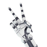 Robotic arm showing victory. Isolated robotic arm showing victory on white background Royalty Free Stock Image