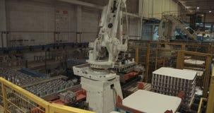 Robotic arm som förlägger på burk mat för att förpacka i ett lager arkivfilmer
