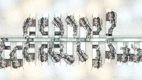 Robotic arm som monterar 3d skrivaren On Conveyor Belt illustration 3d Royaltyfri Fotografi