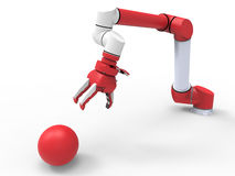 Robotic arm sphere manipulation. 3D render illustration of a robotic arm that is grabbing a sphere. The composition is  on a white background with shadows Royalty Free Stock Photos