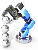 Robotic arm technology industrial balls. Robot arm building growth in technology business as ball bearings stack vector illustration