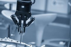 The robotic arm use in  assembly production line . royalty free stock photos