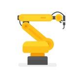 Robotic arm welding. Vector illustration. isolated on white Stock Photo