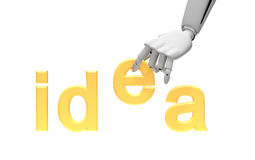 Robotic arm and word idea Royalty Free Stock Photography