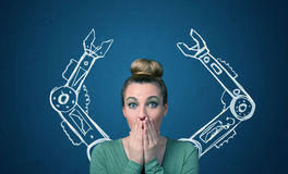 Robotic arms concept Royalty Free Stock Image