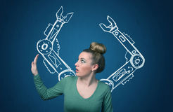 Robotic arms concept Royalty Free Stock Photo