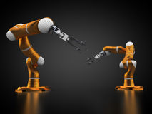 Robotic arms. 3d rendering: robotic arms on black background Royalty Free Stock Photography