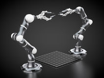 Robotic arms. 3d rendering: robotic arms on black background Royalty Free Stock Photo