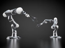 Robotic arms. 3d rendering: two robotic arms Stock Photos