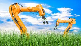 Robotic arms in green grass against blue sky, 3d rendering. Robotic arms in green grass against blue sky, 3d Stock Images