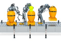 Robotic arms with nuclear atomic bombs on the conveyor belt, 3D. Rendering isolated on white background royalty free illustration