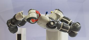 Robotic arms for pick and place automation; Royalty Free Stock Image