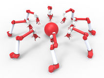 Robotic arms - red sphere Royalty Free Stock Image