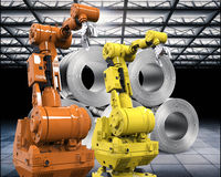 Robotic arms with roll of steel sheets. 3d rendering robotic arms with roll of steel sheets in factory Stock Photos