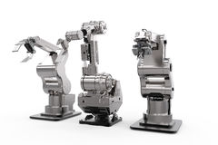 Robotic arms in a row Royalty Free Stock Images