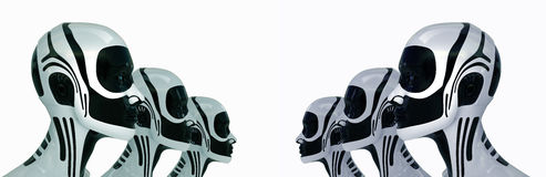 Robotic army of future. 3d isolated Royalty Free Stock Photography