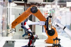 Robotic artificial automated manufacturing smart robot touch screen tablet royalty free stock photography