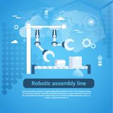 Robotic Assembly Line Web Banner With Copy Space On Blue Background Royalty Free Stock Image