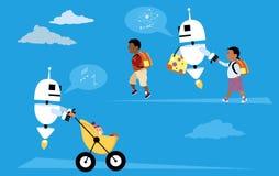 Robotic babysitters Royalty Free Stock Photos