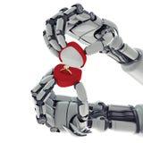 Robotic beväpnar med ringer boxas Arkivbilder