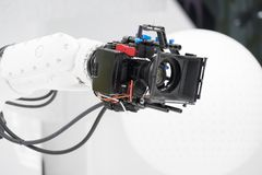 Robotic camera for broadcasting at television. Robotic camera for broadcasting on television Royalty Free Stock Images