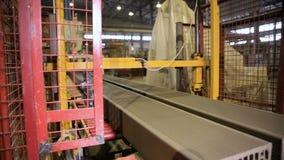 Robotic conveyor. Bricks production. stock video footage