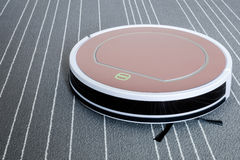 Robotic dammsugare på smart reningsteknik för grå färgmatta Arkivfoton
