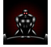 Robotic Deadlifter. Vector of a robotic man with red flashing eyes doing the deadlift.  Vector file available Royalty Free Stock Photography