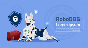 Robotic Dog Protecting Data Cute Domestic Animal Database Safety System Modern Robot Pet Artificial Intelligence Concept. Flat Vector Illustration Royalty Free Stock Images