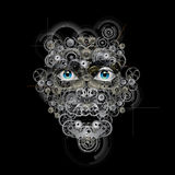 Robotic face. And Mechanical human Stock Images