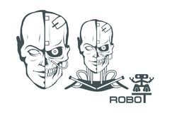 Robotic face. Robot logo for design. Robotics. Vector graphics to design Stock Images