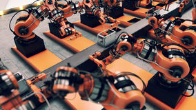 Robotic Factory assembling 3d printer on conveyor belt. 3d illustration Royalty Free Stock Photography