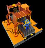 Robotic factory - 3d art Royalty Free Stock Image