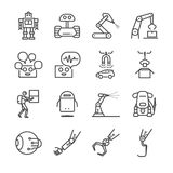 Robotic and factory machine icons set Royalty Free Stock Photos