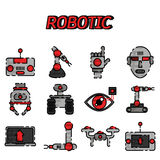 Robotic flat icon set. Vector illustration, EPS 10 Stock Photos