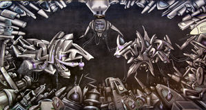 Robotic graffiti. A graffiti in a university campus, Toulouse, France Stock Images