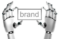 Robotic hand with brand place. On white background Royalty Free Stock Photo