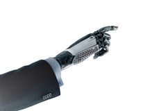 Robotic hand in business suit pointing with index finger Royalty Free Stock Photos