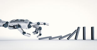Robotic hand collapse dominoes Stock Photo