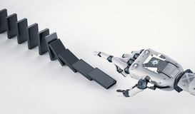 Robotic hand collapse dominoes Royalty Free Stock Photo