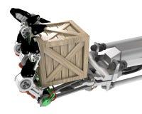 Robotic Hand, Crate Stock Photo