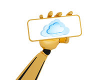 Robotic Hand Hold A Plate With Cloud Computing Stock Image