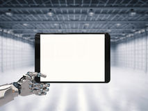 Robotic hand holding blank screen Royalty Free Stock Photos