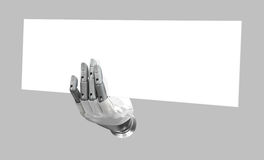 Robotic hand holding blank sign to put your word or logo isolate. Robotic hand holding blank sign to put your word or logo, isolated background stock images