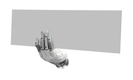 Robotic hand holding blank sign to put your word or logo. Isolated background stock images